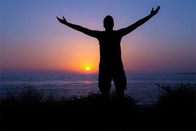Christian Man Praising Silhouette